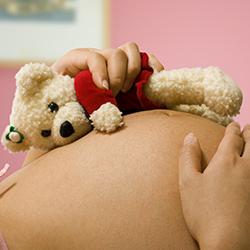 voorbereiding bevalling met acupunctuur - beertje met rood jasje op zwangere buik